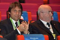 Antonio Conte e Carlo Tavecchio  <br /> Parigi 12-12-2015 Sorteggio fase finale Euro 2016 campionato Europeo di Calcio per Nazioni Francia 2016 <br /> Foto Anthony BIBARD / Panoramic / Insidefoto