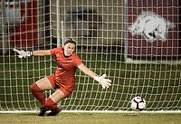 NWA Democrat-Gazette/CHARLIE KAIJO MIzzou goalkeeper Kelsey Dossey (1) misses a block for an Arkansas Razorbacks score during a soccer game, Thursday, September 27, 2018 at Razorback Field in Fayetteville.