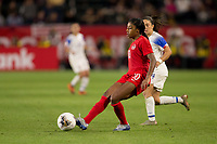 CARSON, CA - FEBRUARY 07: Ashley Lawerance #10 of Canada passes off the ball during a game between Canada and Costa Rica at Dignity Health Sports Complex on February 07, 2020 in Carson, California.