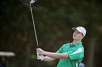 Connor Teague, with Van Buren High School, tees off on the first hole of play Tuesday, August 18, 2020, during the Springdale Bulldog Invitational boys golf tournament at the Springdale Country Club. Check out nwaonline.com/200819Daily/ and nwadg.com/photos for a photo gallery.<br /> (NWA Democrat-Gazette/David Gottschalk)