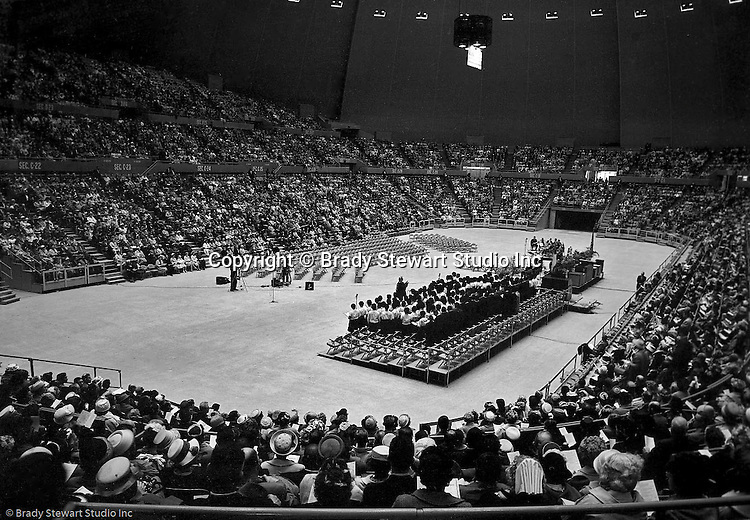 Pittsburgh PA:  View of the choir and attendees at the annual Council of Churches Easter Sunrise Services held at the Civic Arena.  The Council of Churches staged the event that included members of local Catholic, Presbyterian, Lutheran, Baptist, and other denominations in the Pittsburgh Area.  This year the roof was not opened due to weather.<br /> The Council of Churches was a merger of three local groups; the <br /> Allegheny County Sabbath School Association, the Pittsburgh Council of Churches, and the Council of Weekday Religious Education.  The council's objection was to better relate and understand other religions including the local Jewish, African American, Catholic and Christian churches in the downtown Pittsburgh area.