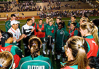 St. Louis Athletica coach Jorge Barcellos talks with his team after their WPS match against FC Gold Pride at Korte Stadium, in St. Louis, MO, May 9 2009. St. Louis Athletica won the match 1-0.