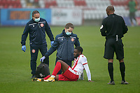 Injury concern for Aramide Oteh of Stevenage during Stevenage vs Hull City, Emirates FA Cup Football at the Lamex Stadium on 29th November 2020