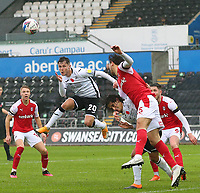 21st November 2020; Liberty Stadium, Swansea, Glamorgan, Wales; English Football League Championship Football, Swansea City versus Rotherham United; Liam Cullen of Swansea City jumps to head the ball from a corner