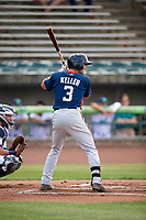 Potomac Nationals designated hitter Alec Keller (3) at bat during the first game of a doubleheader against the Lynchburg Hillcats on June 9, 2018 at Calvin Falwell Field in Lynchburg, Virginia.  Lynchburg defeated Potomac 5-3.  (Mike Janes/Four Seam Images)