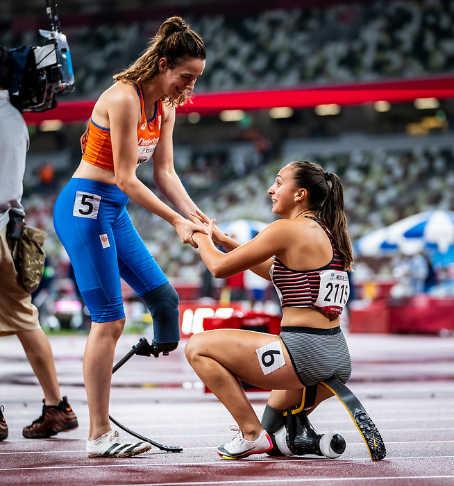 Marissa Papaconstantinou, Tokyo 2020 - Para Athletics // Para-athlétisme.<br /> Marissa Papaconstantinou competes in the women's 100m T64 final // Marissa Papaconstantinou participe à la finale du 100 m T64. 02/09/2021.