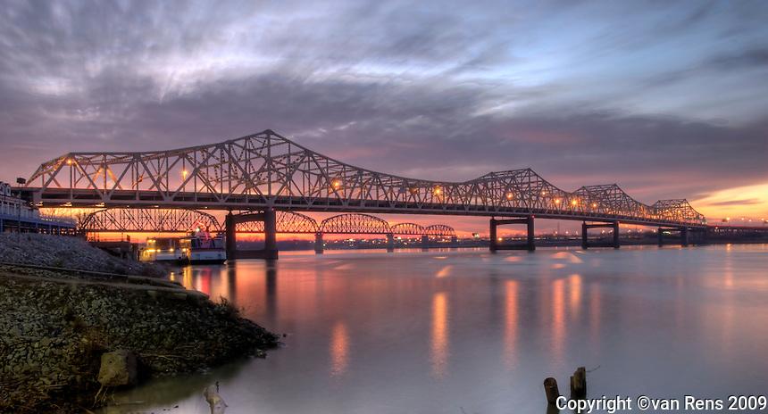 Louisville bridges at sunrise