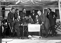 Council of war on board the U.S. Flagship after the treacherous attack of the Coreans on 1 June 1871.  U.S.S. Colorado. (National Archives Gift Collection)<br /> NARA FILE #:  200-KWG-12<br /> WAR & CONFLICT #:  265