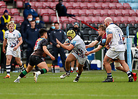 26th December 2020; Twickenham Stoop, London, England; English Premiership Rugby, Harlequins versus Bristol Bears; Will Capon of Bristol Bears trying to navigate past Marcus Smith of Harlequins