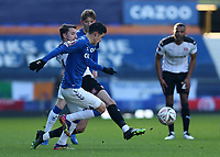 9th January 2021; Goodison Park, Liverpool, Merseyside, England; English FA Cup Football, Everton versus Rotherham United; Dan Barlaser of Rotherham Unitedtackles James Rodriguez of Everton