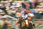 Grand entry with presentation of the colors (U.S. Flag), Jordan Valley Big Loop Rodeo, Ore...