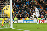 Bale of Real Madrid and Stoyanov of Ludogorets during Champions League match between Real Madrid and Ludogorets at Santiago Bernabeu Stadium in Madrid, Spain. December 09, 2014. (ALTERPHOTOS/Luis Fernandez)