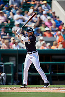 Detroit Tigers right fielder Nicholas Castellanos (9) at bat during a Grapefruit League Spring Training game against the Atlanta Braves on March 2, 2019 at Publix Field at Joker Marchant Stadium in Lakeland, Florida.  Tigers defeated the Braves 7-4.  (Mike Janes/Four Seam Images)