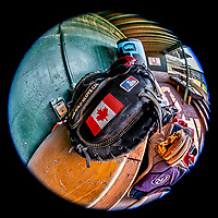 12 June 2021: Vermont Lake Monsters Tyler Favretto's catchers mitt shows off his Canadian heritage in the dugout, prior to a game against the Westfield Starfires at Centennial Field in Burlington, Vermont. The Lake Monsters defeated the Starfires 4-1 at Centennial Field, in Burlington, Vermont. Mandatory Credit: Ed Wolfstein Photo *** RAW (NEF) Image File Available ***