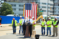 The President of the United States of America makes a short stop in Columbus, OH on June 18th, 2010 in front of the New Nationwide Childrens Hospital to deliver a speech at the site of the 10,000 Public Works project initiated by the Reconstruction act passed just one year ago.