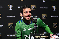 SEATTLE, WA - NOVEMBER 10: Victor Rodriguez #8 of the Seattle Sounders FC talks to the media in the postgame press conference during a game between Toronto FC and Seattle Sounders FC at CenturyLink Field on November 10, 2019 in Seattle, Washington.