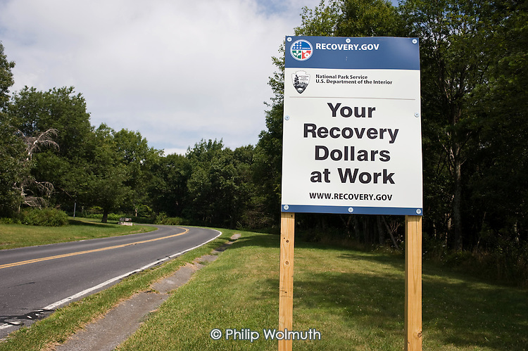 Government sign promoting  US Federal Government economic recovery programme in the Shenandoah National Park, Virginia.