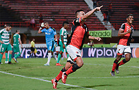 CUCUTA - COLOMBIA, 24-08-2019: Matias Perez Garcia de Cúcuta celebra después de anotar el segundo gol de su equipo durante partido entre Cúcuta Deportivo y La Equidad por la fecha 8 de la Liga Águila II 2019 jugado en el estadio General Santander de la ciudad de Cúcuta. / Matias Perez Garcia of Cucuta celebrates after scoring the second goal of his team during match between Cucuta Deportivo and La Equidad for the date 8 of the Liga Aguila II 2019 played at the General Santander stadium in Cucuta city. Photo: VizzorImage / Edgar Cusguen / Cont