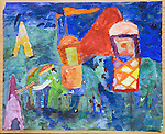 """Painting 'Green Elephants' by Homer Sykes age 10 yrs The Downs School Colwall. Art master James Lynch. Painting called """"Green Elephants"""""""