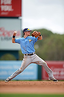 Tampa Bay Rays shortstop Matt Duffy (5) throws to first base while on rehab assignment during an Instructional League game against the Baltimore Orioles on October 2, 2017 at Ed Smith Stadium in Sarasota, Florida.  (Mike Janes/Four Seam Images)