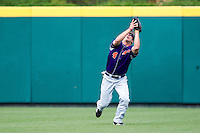 Kevin Kaczmarski (4) of the Evansville Purple Aces catches a ball hit to the outfield during a game against the Missouri State Bears at Hammons Field on May 12, 2012 in Springfield, Missouri. (David Welker/Four Seam Images)