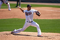 Minnesota Twins pitcher José Berríos (17) during a Major League Spring Training game against the Pittsburgh Pirates on March 16, 2021 at Hammond Stadium in Fort Myers, Florida.  (Mike Janes/Four Seam Images)