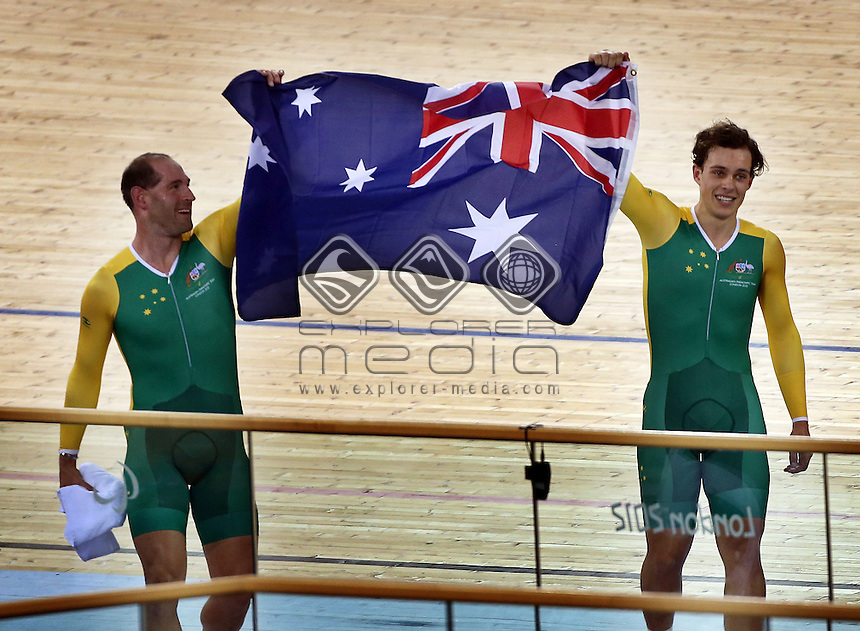 Kieren Modra and Scott McPhee (AUS) after winning the Men's Individual B Pursuit Final.<br /> Track Cycling (Thursday 29th Aug)<br /> Paralympics - Summer / London 2012<br /> London England 29 Aug - 9 Sept <br /> © Sport the library/Joseph Johnson