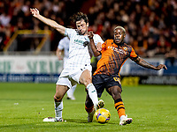 23rd September 2021;  Tannadice Park, Dundee, Scotland: Scottish League Cup football, Dundee United versus Hibernian:Joe Newell of Hibernian and Jeando Fuchs of Dundee United compete for possession of the ball