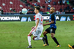 Bayern Munich Forward Milos Pantovic (L) in action against FC Internazionale Midfielder Joao Mario (R) during the International Champions Cup match between FC Bayern and FC Internazionale at National Stadium on July 27, 2017 in Singapore. Photo by Marcio Rodrigo Machado / Power Sport Images