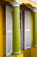 South Africa, Cape Town, Bo-kaap.  Columns, Shutters, Window of a Private House.