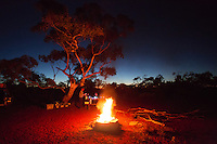 Campfire at remote Neale Junction Nature Reserve in Western Australia