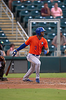St. Lucie Mets Shervyen Newton (3) bats during a game against the Fort Myers Mighty Mussels on June 3, 2021 at Hammond Stadium in Fort Myers, Florida.  (Mike Janes/Four Seam Images)