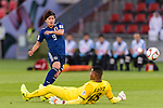 Minamino Takumi of Japan attempts to score during the AFC Asian Cup UAE 2019 Group F match between Oman (OMA) and Japan (JPN) at Zayed Sports City Stadium on 13 January 2019 in Abu Dhabi, United Arab Emirates. Photo by Marcio Rodrigo Machado / Power Sport Images