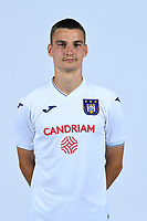 30th July 2020, Turbize, Belgium;   Pieter Gerkens midfielder of Anderlecht pictured during the team photo shoot of RSC Anderlecht prior the Jupiler Pro league football season 2020 - 2021 at Tubize training Grounds.