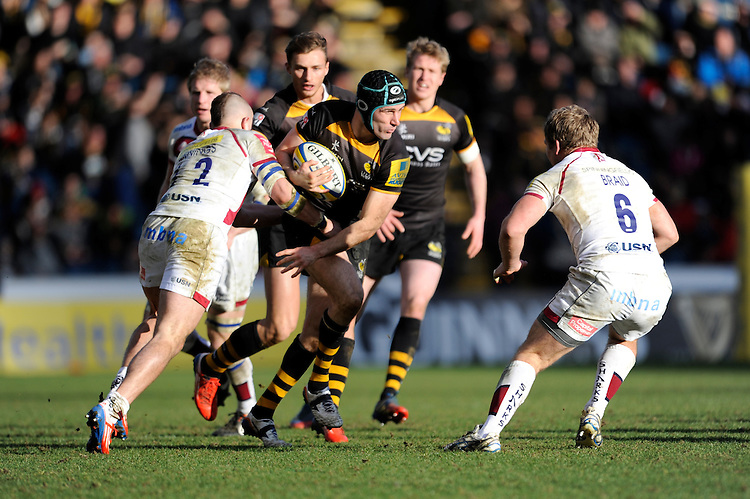 Chris Bell of London Wasps looks for a gap between Mark Jennings (left) and Dan Braid of Sale Sharks during the Aviva Premiership match between London Wasps and Sale Sharks at Adams Park on Saturday 1st March 2014 (Photo by Rob Munro)