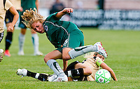 Saint Louis Athletica midfielder Amanda Cinalli (15) battles for the ball with FC Gold Pride midfielder Leslie Osborne (10) during a WPS match at Anheuser-Busch Soccer Park, in St. Louis, MO, July 26, 2009. The match ended in a 1-1 tie.