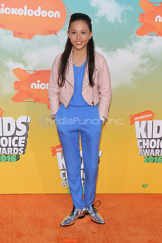 INGLEWOOD, CA - MARCH 12: Breanna Yde at Nickelodeon's 2016 Kids' Choice Awards at The Forum on March 12, 2016 in Inglewood, California. Credit: mpi24/MediaPunch