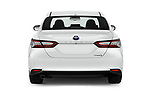 Straight rear view of 2019 Toyota Camry Premium 4 Door Sedan Rear View  stock images