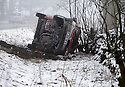 26/03/15<br /> <br /> An overturned van lies in a ditch after skidding off the A515 near Hartington, after overnight snow in the Derbyshire Peak District.<br /> <br /> All Rights Reserved - F Stop Press.  www.fstoppress.com. Tel: +44 (0)1335 418629 +44(0)7765 242650