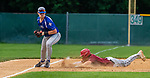 WATERBURY, CT 071221JS12  Brass City Bombers' Tyler Kipp (15) is called out on a force play at third base after Wallingford Silver Storm's (25) steps on the bag during their Connecticut Collegiate Baseball League game Monday at Municipal Stadium in Waterbury. <br />  Jim Shannon Republican American