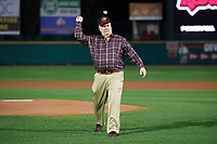 "Rochester Red Wings special guest, actor Dennis Haskins who portrayed High School Principal Richard Belding on the hit TV series ""Saved by the Bell"", throwing out the ceremonial first pitch before the second game of a doubleheader against the Scranton/Wilkes-Barre RailRiders on August 23, 2017 at Frontier Field in Rochester, New York.  Rochester defeated Scranton 1-0.  (Mike Janes/Four Seam Images)"