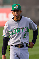 Clinton LumberKings outfielder Luis Liberato (2) warms up prior to a Midwest League game against the Wisconsin Timber Rattlers on May 9th, 2016 at Fox Cities Stadium in Appleton, Wisconsin.  Clinton defeated Wisconsin 6-3. (Brad Krause/Four Seam Images)