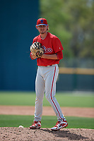 Philadelphia Phillies Andrew Brown (41) during a minor league Spring Training game against the Pittsburgh Pirates on March 13, 2019 at Pirate City in Bradenton, Florida.  (Mike Janes/Four Seam Images)