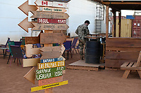 MALI, Gao, Minusma UN peace keeping mission, Camp Castor, german army Bundeswehr , city plates with home distance / Ortsschilder Heimatorte mit Entfernungsabgabe
