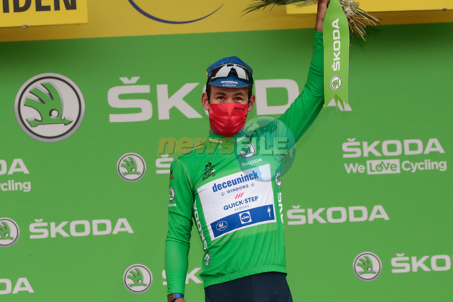 Mark Cavendish (GBR) Deceuninck-Quick Step retains the points Green Jersey at the end of Stage 18 of the 2021 Tour de France, running 129.7km from Pau to Luz-Ardiden, France. 15th July 2021.  <br /> Picture: Colin Flockton | Cyclefile<br /> <br /> All photos usage must carry mandatory copyright credit (© Cyclefile | Colin Flockton)