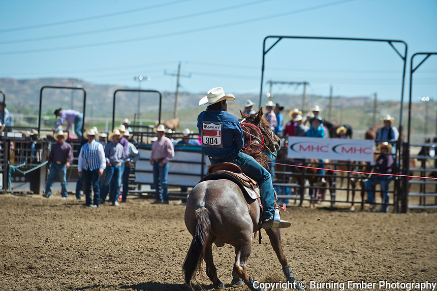 BAlkenbush and Lemmon in the Team Roping event at the Saturday Short Go round event at the Wyoming State High School Finals Rodeo in Rock Springs Wyoming.  Photo by Josh Homer/Burning Ember Photography.  Photo credit must be given on all uses.