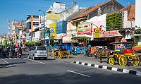Yogyakarta, Java, Indonesia.  Early-Morning Traffic on Malioboro Street.