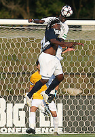 04 September 2009: Tamba Samba #10 of the University of Notre Dame goes for a header against Ike Opara #23 of Wake Forest University during an Adidas Soccer Classic match at the University of Indiana in Bloomington, In. The game ended in a 1-1 tie..