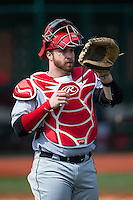 Hartford Hawks catcher Billy Walker (25) during infield practice prior to the game against the Virginia Cavaliers at The Ripken Experience on February 27, 2015 in Myrtle Beach, South Carolina.  The Cavaliers defeated the Hawks 5-1.  (Brian Westerholt/Four Seam Images)
