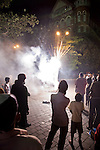 MUMBAI, INDIA - SEPTEMBER 27, 2010: Revellers setting off fireworks at the always busy scene of the Gateway to India outside the Taj Mahal Palace and Tower Hotel in Mumbai. The hotel has re-opened after the terror attacks of 2008 destroyed much of the heritage wing. The wing has been renovated and the hotel is once again the shining jewel of Mumbai. pic Graham Crouch